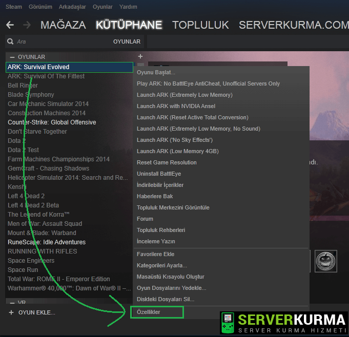 ARK: Survival Evolved ip ile bağlanma